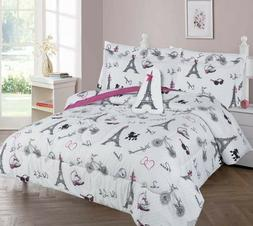 White Black Pink Paris Eiffel Tower Complete Bed Comforter s