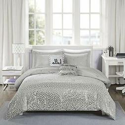 Zoey Metallic Triangle Print Comforter Set Grey/Silver Full/